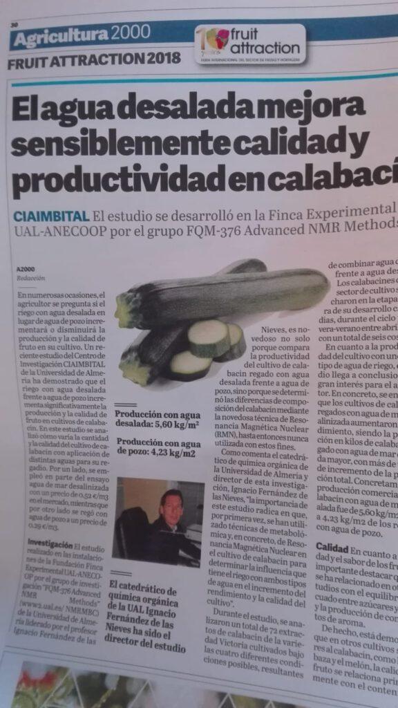 The research group appears in La Voz de Almería under the speccial issue Agricultura2000